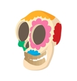 Skull with floral ornament icon cartoon style vector image