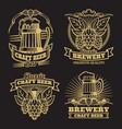 vintage craft classic beer labels on black vector image