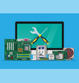 assembling and service pc computer hardware vector image
