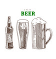 beer mug glass and bottle craft beer party vector image vector image
