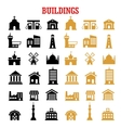 Black and yellow flat building icons vector image vector image