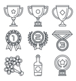 Black lineart icon set Trophy and awards vector image vector image