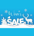 blue background with deer and fir tree vector image vector image