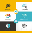 brain logo designs set artificial intelligence ai vector image vector image