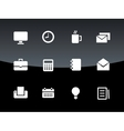 Business icons on black background vector image