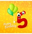 cartoon greeting card for fifth babirthday vector image