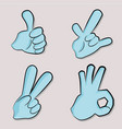 cartoon hand icon set vector image vector image
