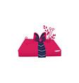 cartoon present gift box ribbon bow vector image vector image