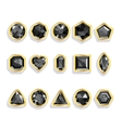 Colorful gems - black Set realistic gemstones vector image vector image