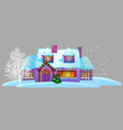 cozy rustic small house with glowing windows vector image