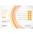 Desk Calendar for 2017 Year July Week Starts vector image