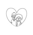 dotted shape couple together inside heart design vector image