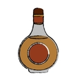 drawing cognac bottle alcochol drink style vector image