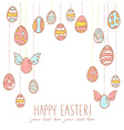 Easter eggs hanging on laces vector image vector image