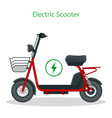 electric scooter with seat on road electric vector image vector image
