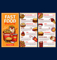 fast food menu with takeaway lunch meal and drinks vector image vector image
