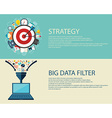 Flat style business strategy and big data filter vector image vector image