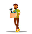 frustrated business loser leaves office with a box vector image vector image