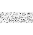 funny white and black sheep animals doodle set vector image