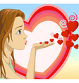 Girl blowing hearts shape vector | Price: 1 Credit (USD $1)