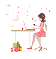 glamorous laptop girl vector image vector image