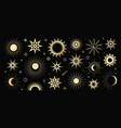 golden set mystical magic different sun vector image