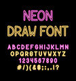 hand draw neon tube alphabet font color type vector image