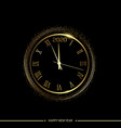 happy 2020 year card with golden watch on black vector image vector image