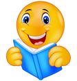 Happy smiley emoticon reading book vector image
