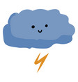 happy thunder cloud on white background vector image vector image