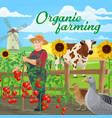 organic farming food and farmer agriculture vector image vector image