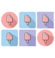 outlined icon of bitten ice cream with parallel vector image vector image