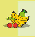 pear cherry and banana fresh delicious vector image vector image