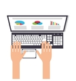 person using laptop topview icon vector image vector image