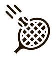 racket hits ball icon glyph vector image vector image