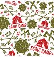 Scout camp seamless patterns vector image vector image
