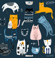 seamless pattern with cute kittens in different vector image vector image