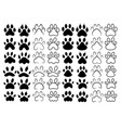 set footprints pets collection paws dogs vector image vector image