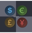 set of currency icons dollar euro pound yen vector image vector image