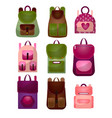 set of modern fashionable backpacks for young vector image vector image