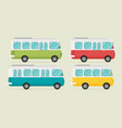 set of retro bus flat vector image