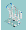 Shopping cart isometrics Empty Supermarket vector image