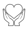 sketch silhouette image hands holding a heart vector image vector image