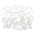 small children playing funny soft toys vector image vector image