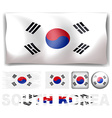 South Korea flag in different designs vector image vector image