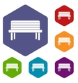 Street bench icons set vector image vector image