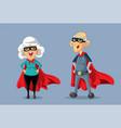 superhero grandparents cartoon vector image