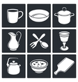Tableware Icons set vector image vector image