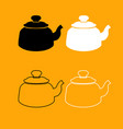 teapot black and white set icon vector image vector image