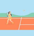 tennis court woman vector image vector image